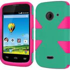 ZTE Whirl 2 Z667 IMPACT TUFF HYBRID Protector Case Skin Phone Cover Accessory