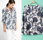 2015 Spring Europe Retro Vintage Totem Floral Top Blouse Collarless Shirt S M L