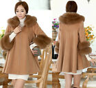 Womens Noble Fur Cloak Wool Blend Batwing Sleeve Trench Coat Poncho Outwear New