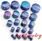 Pair 4-20mm Acrylic Blue Dot Double Flared Ear Tunnel Plugs Expander Stretcher