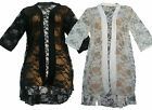 34A-LADIES OPEN FRONT SHORT SLEEVE FLORAL LACE KIMONO BOYFRIEND CARDIGAN TOP