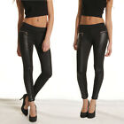 New Lady Low Rise PU Leather Leggings Tight Jeggings Stretchy Skinny Warm Pants