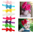Baby Girl Toddler Lace Flower Cute Bowknot Bow Soft Elastic Headband Hair Band