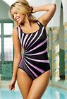 "LONGITUDE Plus Size Lavender ""Panorama"" Tank Swimsuit *NWT $99"
