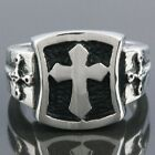 Punk Black Sword Cross Crucifix Goth Band Stainless Steel Finger Ring US 8/9/10