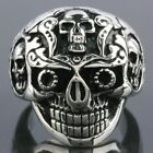 Vintage Punk Black Double Skull Head Gothic Stainless Steel Finger Ring US 10/11
