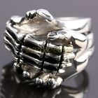 Punk Gothic Holding Shaking Skull Hand Stainless Steel Fingers Ring US 10/11/12