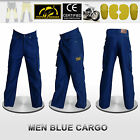 Men Motorbike Blue Cargo Trousers Reinforced with DuPont™ Kevlar® fiber
