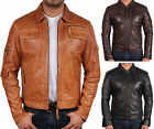 UK Vintage Men's Leather Biker Jacket Motor Biker Jacket Slim Fit Coat Outwear