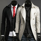 Free P&P Mens Stylish Trench Outwear Winter Jacket Long D-Breasted Coat Overcoat