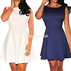 Fashion New White Textured Open Sides Back Formal Cocktail Party Skater Dress