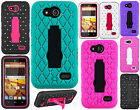 Boost Mobile ZTE Speed N9130 GoPhone HYBRID IMPACT KICK STAND Diamond Case Cover