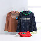 Spring Child Baby Kids Girls Polka Dot High Lace Neck Long Sleeve T-Shirt 2-7Y