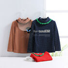 Spring Child Baby Kids Girl Polka Dot High Lace Neck Long Sleeve T-Shirt 2-7Y