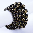 Carved black agate Six-Word Memoirs Mani round beads stretchable bracelet 7""