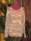 LORD AND TAYLOR NWT $94 100% cotton cardigan women's flowered beige sweater