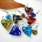 Lampwork Glass Murano Heart Love Bead Pendant + Hook Earring Women Jewelry Set