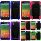 For ZTE ZMax Hard Silicone Soft Hybrid Rubberized Case Cover Skin w/stand