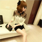 New Lace Floral Women Lady Chiffon Shirt Tops Button Down Long Sleeve Blouse