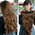 Hot Women One Piece Clip in Synthetic Human Hair Extensions Long Wavy Curly Hair