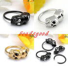 Stainless Steel Skull Closure Nose Lip Eyebrow Nipple Ear Captive Hoop CBR Ring
