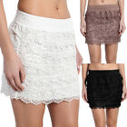 TheMogan Crochet Lace Ruffle Tiered Elastic Waist Mini Skirt