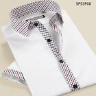 White mixed plaids collar men's short sleeve cotton fashionable shirt