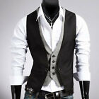 Men's Casual Fashion V-neck Double Layered Fit Vest Waistcoat Slim Jacket Tops