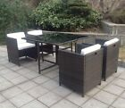 Rattan 4 Seat Cube Dining Set Outdoor Garden Furniture Black or Mixed Brown