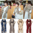 Fox Print Scarf Winter Women Warm Animal Shawl Wraps Stole Pashmina Neck Soft