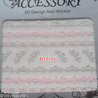 nail art stickers nail art lace decals transfers Metallic Silver wedding lace
