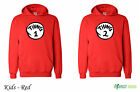 Thing 1 and Thing 2 Red Dr Suess Cat In A Hat  Twins Hoodie . Kids  - Red