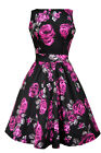 Lady V London Vintage Violet & Grey Roses Floral Tea Dress Rockabilly Pinup 50's