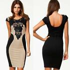 Sexy Women Lace Slim Bodycon Short Sleeve Lady Party Cocktail Evening Dress