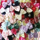 Satin Ribbon Bow Ties with Pearls - Choose Colour & Pack Size