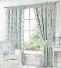 Duck Egg Tape Top Quality Pair Of Curtains With Floral Flower & Leaf Pattern
