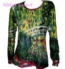 CLAUDE MONET Japanese Bridge Lily LANDSCAPE PAINTING LS T SHIRT FINE ART PRINT *