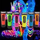 3 x UV Neon Face Body Paint Fluorescent Light Glow Bright Colour Party New 10ml