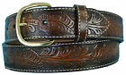 Big & Tall Men's Western Leather Belt BROWN Cowboy Style Sizes 34 - 42