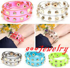 Transparent Resin Film Statement Spike Rivet 2 Circle Wristband Wrap Bracelet