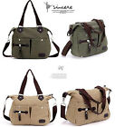 Lady Casual Satchel Canvas Zip Big Bag Soild Shoulder Messenger bag Three Color