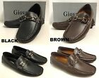 Men's GIOVANNI faux leather shoes driving moccasins black brown style M10-5