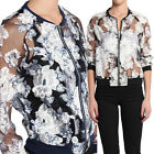 TheMogan Zipper Front Floral Printed Organza Sheer Bomber Jacket