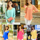 Women's Tops Soild Blouse Yellow/Rose/Blue/White/Black 6 size