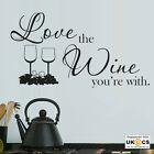 Love The Wine Kitchen Wall Art Stickers Decals Vinyl Decor Mural Quote Room