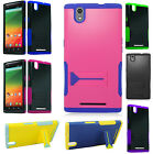 For T-Mobile ZTE ZMAX Z970 Hybrid Silicone Rubber Skin Case KickStand Cover