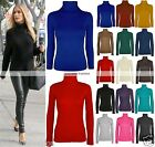 NEW WOMENS LADIES POLO NECK LONG SLEEVE TURTLE TOP TOP JUMPER 8-26