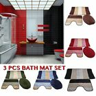 Elegant Anti Slip 3 Pieces Bathroom Mat Set 3 Pcs Toilet Rug Set Stripe Design
