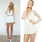 Women Sexy V Neck Long Sleeve Lace Hollow  Casual Jumpsuits Mini & Slim