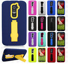 For LG G2 4G LTE IMPACT Hard Rubber Case Phone Cover Kickstand +Screen Protector